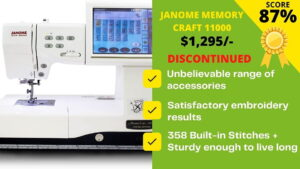 Read more about the article Janome Memory Craft 11000 review: It Failed in our Testing